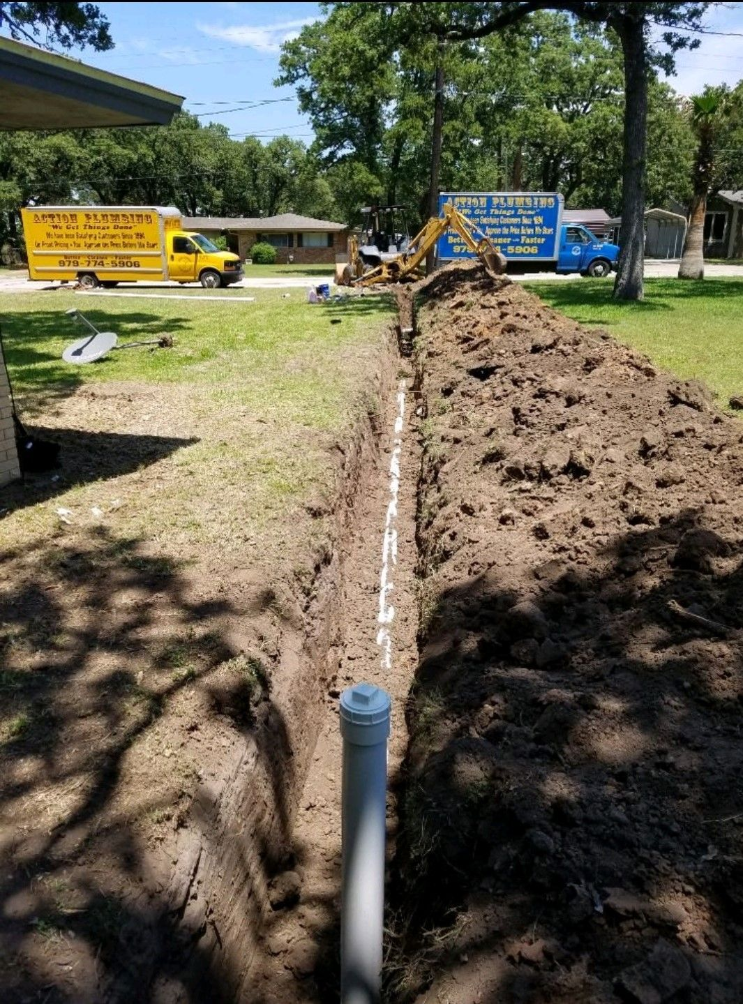 Sewer line repair trench